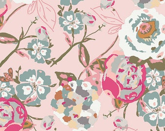 Blush Dusty Blue and Fuchsia Floral Jersey Knit Fabric, Bachelorette Fusion by Bonnie Christine for Art Gallery Fabrics, 1 yard Jersey KNIT