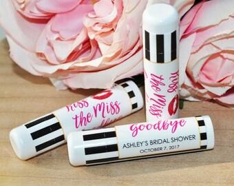 Bridal Shower Lip Balm Favor Labels, Wedding Lip Balm Labels, Bachelorette Party, Engagement Favor, Kiss The Miss Goodbye - Set of 24 Labels