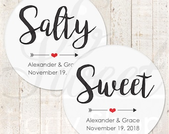 Sweet and Salty Stickers, Wedding Favor Stickers, Treat Bag Stickers, His and Her Favorite Stickers, Snack Bag Stickers - Set of 24