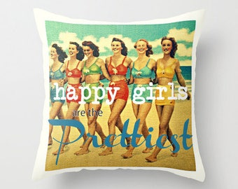 Happy Girls are the Prettiest Pillow Cover 18x18 Colorful Throw Pillow with words Audrey Hepburn Colorful Throw Pillow Swimsuit Throw Pillow