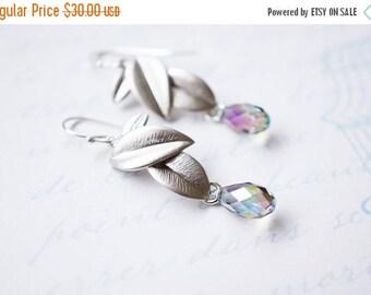 SALE Earrings, Leaf Earrings, Botanical Earrings, Silver Earrings, Crystal Earrings, Dangle Earrings, Drop Earrings, Handmade Earrings, Gift