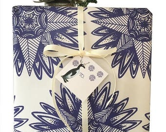 BLACK FRIDAY SALE Bohemian Christmas Gift Wrap Kits  Blue Stars Penguin Tags Ivory Grosgrain Ribbon