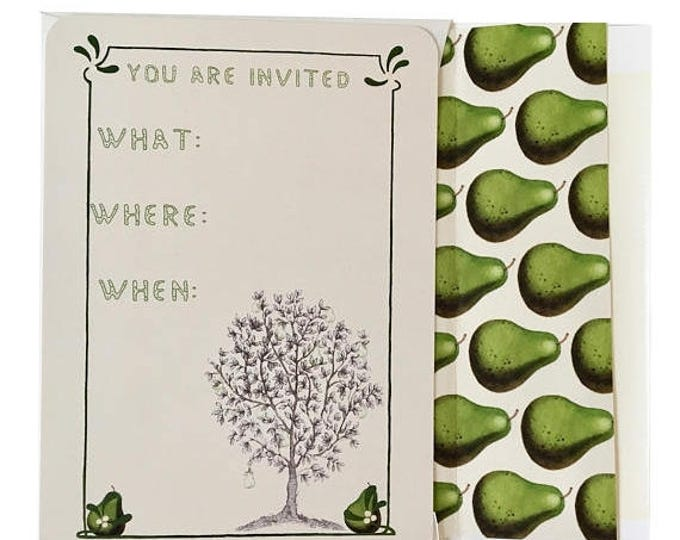 BLACK FRIDAY SALE Thanksgiving Invitations in green and ivory Pear Scented Partridge in a Pear Tree