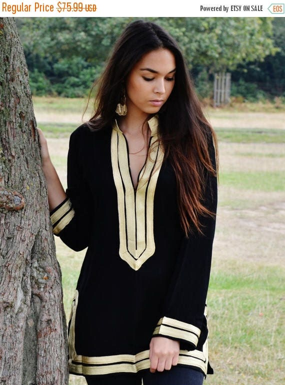 25% OFF Autumn Sale// Trendy Black Tunic with Golden Embroidery Mariam- perfect for resort wear, boho wear, as birthday gifts, black boho tu