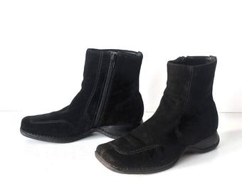 Women's Vintage VERNISSAGE Wedge Black 100% Real Leather Suede  Ankle Boots Size UK4 EU37