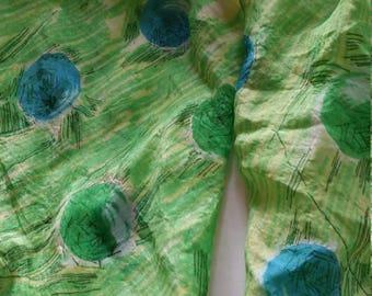 Vintage Silk Scarf green 1950s