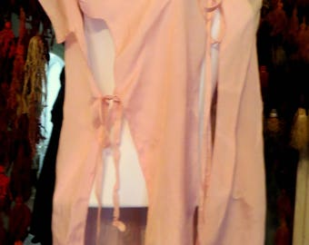 Beribboned 1920s Pink Silk Long Bed Jacket