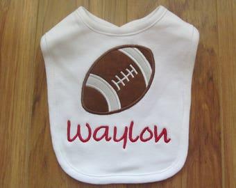 Personalized Football Baby Bib Monogram Baby Bib Custom Baby Bib Baby Bibs Monogram Football Custom Football Bib Baby Girl Bibs Baby Boy Bib