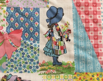 """Holly Hobbie Curtains 3 Panels Vintage 1970s 52"""" x 38"""""""