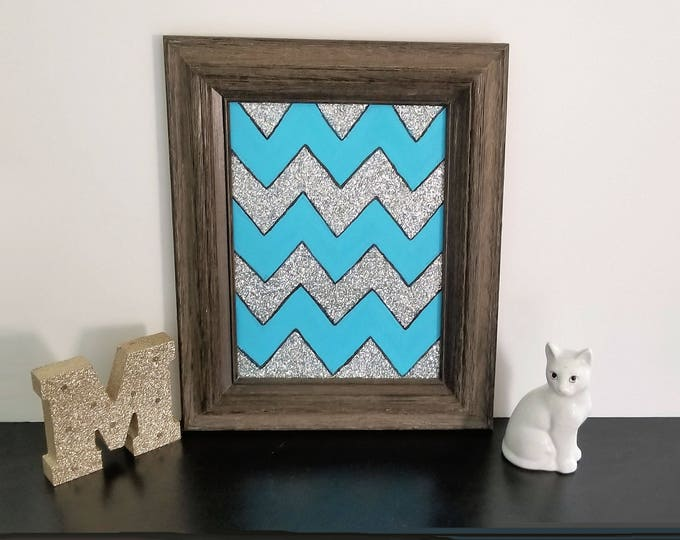 Framed Glitter Chevron Original Painting Free Shipping USA