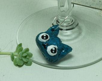Wine Glass Charm Set Cute Cat Set of 5 polymer clay charms