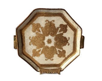 Vintage Venetian Tray/ Decorative Papier Mache Florentine style Plate/ Serving Tray on FREE stand