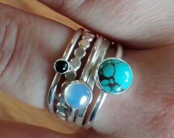 Turquoise Opalite and Onyx Stacking Rings Set of 5