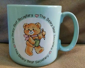 Vintage 1985 Coffee Mug, Applause Beary Best Secretary Teddy Bear, Aqua Blue Ceramic, Appreciation, Japan, Office or Christmas Gift