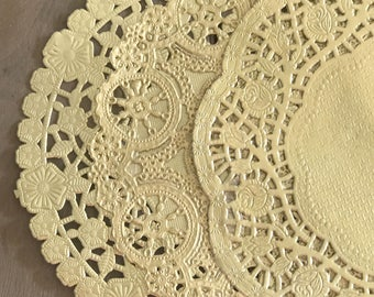 GOLD | 6 INCH - Variety Pack, Shabby Rustic Hand Dyed Paper Lace Doilies - You Choose The Doily Style & Quantity - Farmhouse Wedding