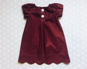 Girls Valentine's Dress, Burgundy Dress, Scallop hem dress, Baby Girl Dress, Valentine's Day - Kids Valentine's Outfit, toddler outfit