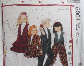 Jumping Beans Sewing Pattern - Preteen Girl's Jacket, Vest, Skirt and Pants - Easy McCall's 5061 - Sizes 10-12-14, Bust 28 1/2 - 32 - UNCUT