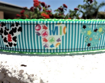 "Disney Dog Collar, Mickey Mouse, Stripe 1"" wide Quick Release adjustable - no martingale, incl neck measurement"