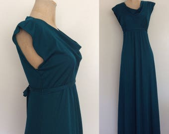 1970's Teal Polyester Maxi Dress w/ Cowl Neck