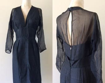 "30% OFF 1960's Silk Wiggle Dress w/ Halter Top Illusion Sleeves & Back Little Black Dress Vintage Size Small Medium 27"" Waist by Maeberry Vi"