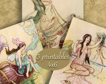 """4x6 inch Digital Printable FAIRY BOOK ART Set 1 - Three Vintage Illustrations for Framing or Crafting...""""Water Babies"""" art by Warwick Goble"""