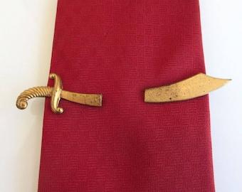 Gold SWORD Tie Bar / Tie Clasp / Tie Clip - Large Wide Blade, Vintage Very Worn