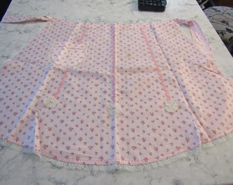 Vintage 1950's Pink Floral Calico Print Cotton Apron--For Use or Re-Purposing---0318-00000DNR