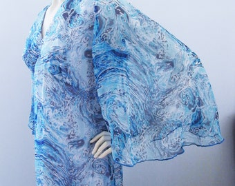 Cascading Sea - vintage 60s chiffon dress with psychedelic blue print and angel sleeves