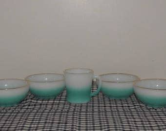 Vintage Rare Fire King... Teal To White Fade.... Four Cereal Bowls and One D Handled Mug...Anchor Hocking....1950's....Happy Home