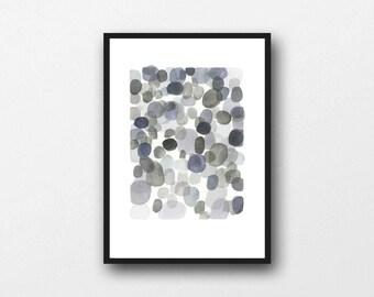 pebble art, neutral colors, modern painting, abstract painting, Abstract Art, Watercolor painting, watercolor grey watercolor print