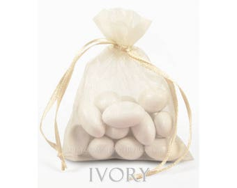 RESERVED - 260 Ivory Cream Organza Bags, 5 x 8 Inch Sheer Fabric Favor Bags