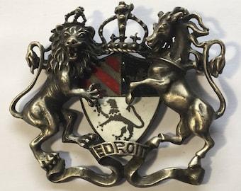 Vintage Heraldic Ledroit Enamel Brooch Large Lion Horse Dimensional