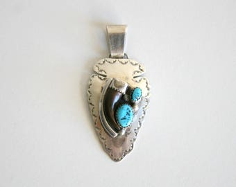 Navajo Sterling Silver Turquoise Bear Claw Pendant