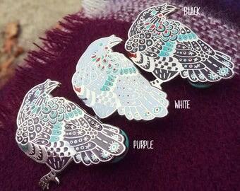 Enamel Raven Pins