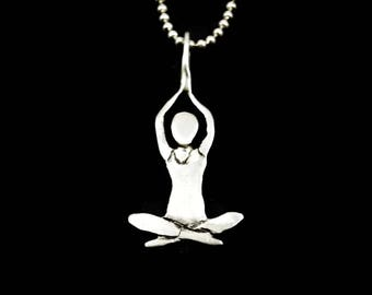 Yoga Meditation Jewelry For Women, Sterling Yoga Jewelry For Her, Spiritual Jewelry For Women, Robin Wade Jewelry, Yoga Pose Pendant,  2573
