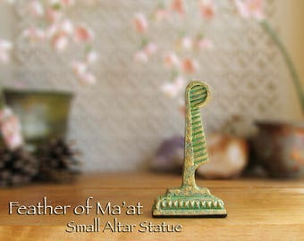 Small Feather of Ma'at Altar Statue - Symbol of Goddess Ma'at - Feather of Truth - Polymer Clay Statue -Aged Golden Brass Patina Finish
