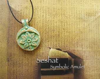 Seshat Symbolic Amulet - Protective Goddess - Handcrafted Amulet with Leaf and Bow Headdress Symbols with Aged Golden Brass Patina Finish