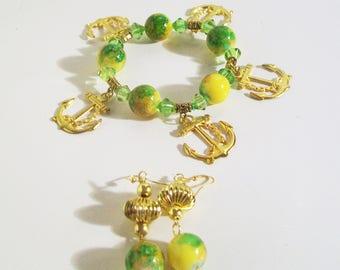 Big Bold Bead, Yellow Green Gold Charm Bracelet Set, 2 Piece Set