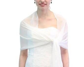 Summer Sale Chiffon Bridal Wrap Wedding Stole - White 8139CH on Spring Sale
