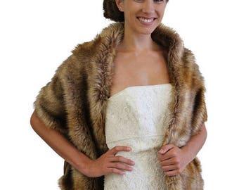 Valentine's Day Bridal fur stole, Vintage brown stole faux fur, fur shrug, bridal shawl wrap fur, bridal stole, wedding stole, faux fur cape