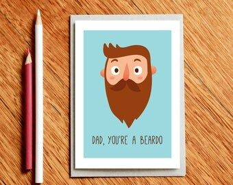 Funny Dad Christmas Card, Fathers Day Card, Dad Birthday Card, Hipster Dad, Beard Card, Card for Dad, Card For Him, Funny Dad Card, Beardo