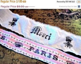 Cottage Chic Hand Stamped Fabric Trim - Scrapbooking - Bees Paris - Wedding - Gift Decor