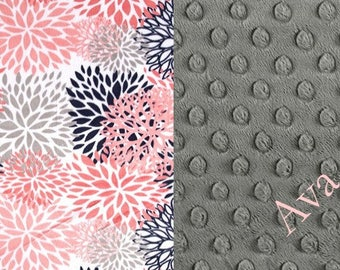 Personalized Baby Blanket, Girl Blanket, Baby Blanket, Coral Floral Minky, Name Blanket, Minky Blanket, Nursery Decor, Receiving Blanket