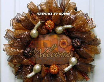 10% OFF SALE Fall Welcome Wreaths, Autum Wreaths (1202)