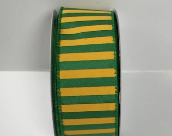 ON SALE 1.5 Inch Green Yellow Striped Ribbon 223995-1015, Wired Ribbon, College Wreath Ribbon