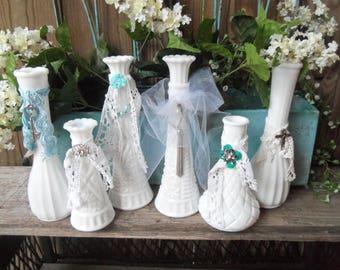 Set of 6 Milk Glass Vases, Wedding Decor, White, Romantic, Cottage Decor