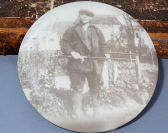 Fisherman Flue Cover, Vintage Celluloid Photo Wall Hanging Man Cave Angler Sportsman