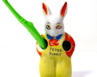 Child Toothbrush Holder Peter Rabbit Vintage Bathroom Decor Ceramic Bunny