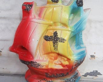Vintage Chalkware Ship Carnival Prize Pirate's Ship Glitter Cross