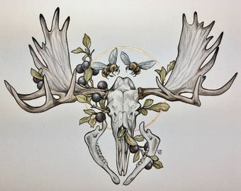 ORIGINAL Moose Skull and Bees 9x12 inch Watercolor Painting